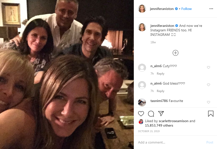 Jennifer Aniston's first Insta post of her and the rest of the friends gang