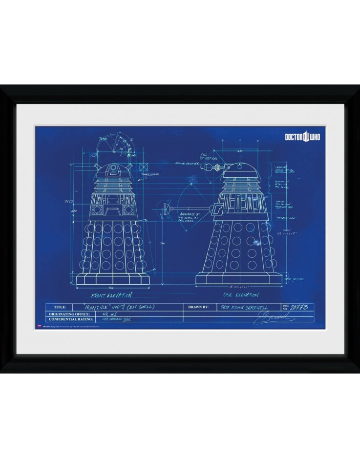 Doctor Who Dalek Blueprint Framed Collector Print
