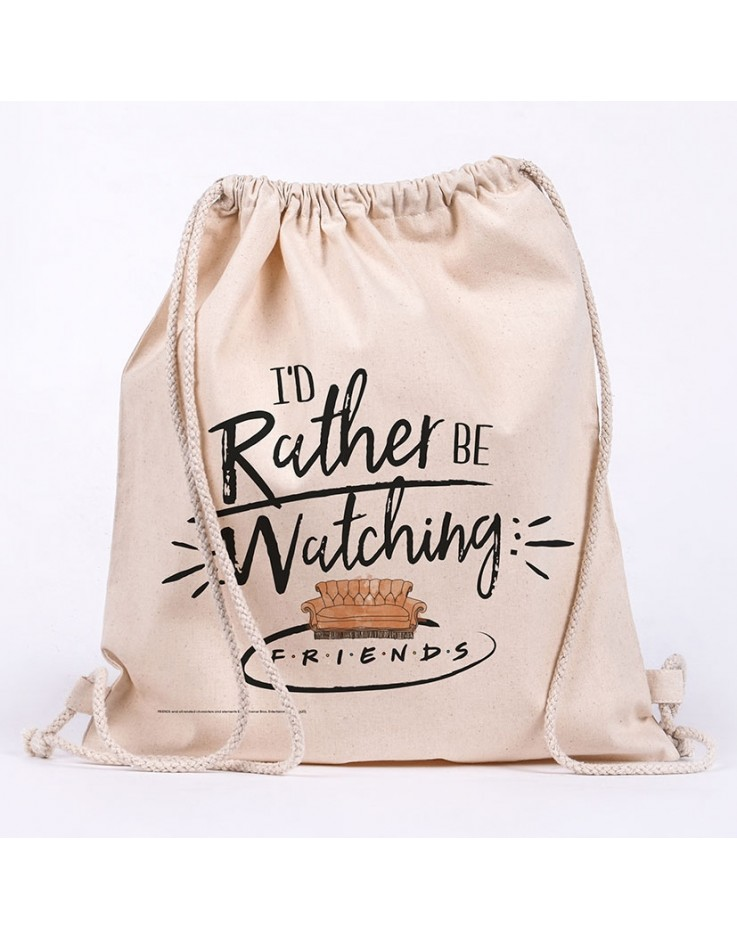 Friends Rather Be Watching Draw String Bag