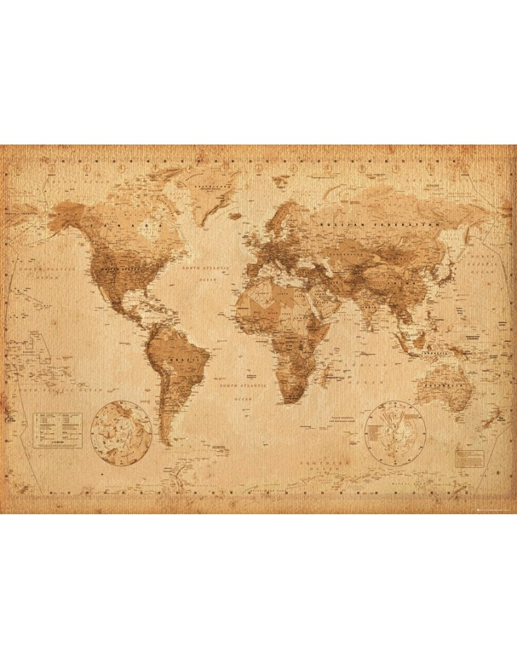 World Map Antique Style Giant Poster