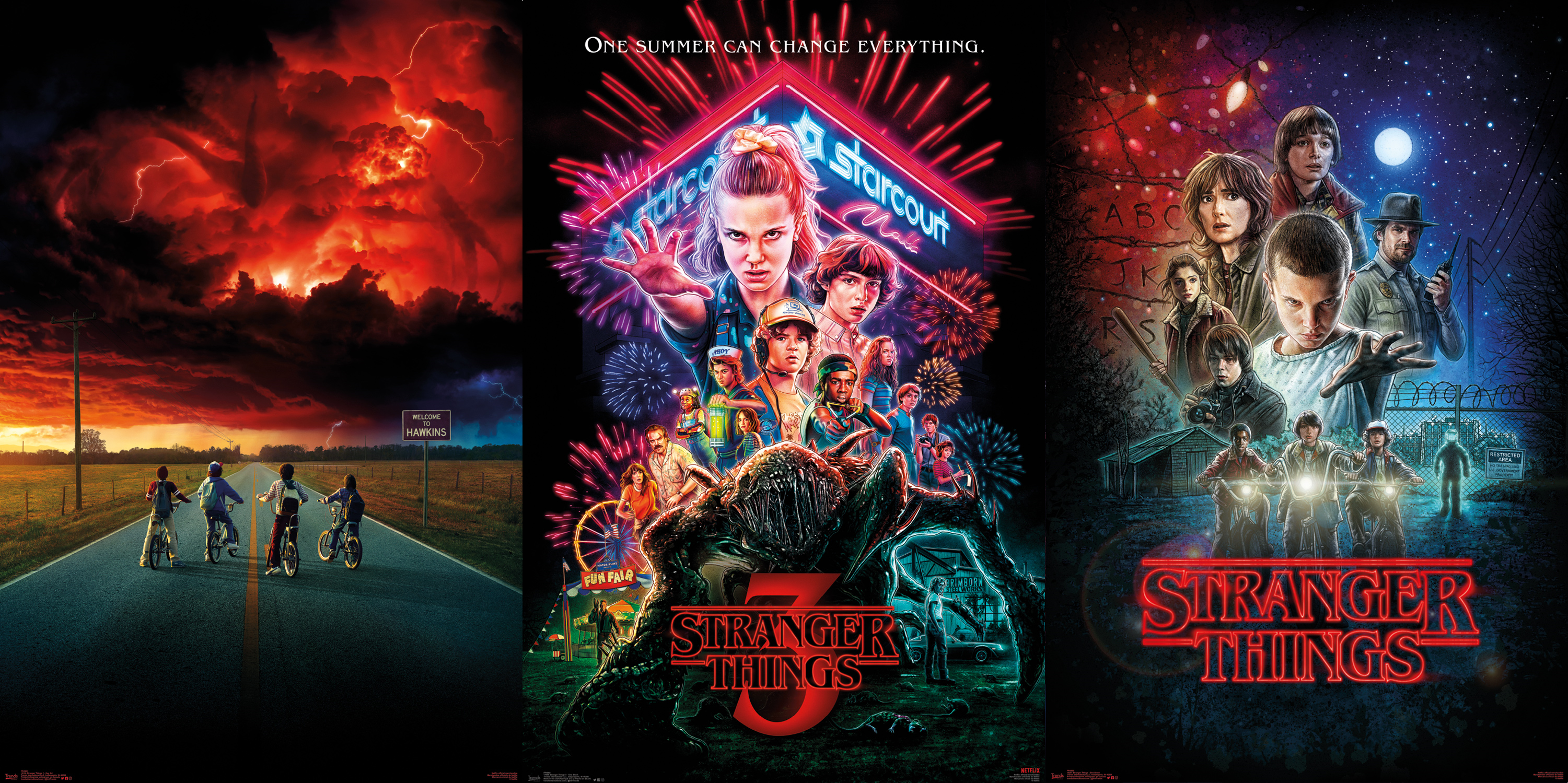 Stranger Things One Sheet Bundle Maxi Poster Netflix unveiled character posters for the highly anticipated stranger things 3, which premieres july 4 on the streaming service. stranger things one sheet bundle maxi poster