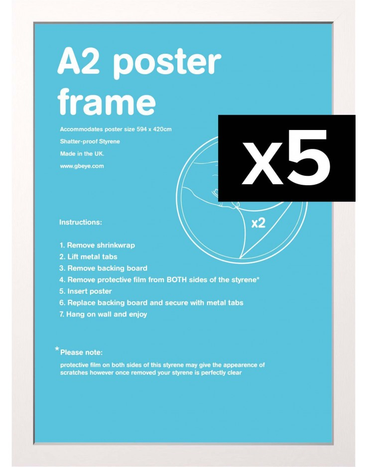 5 Cadres pour posters taille A2 (Blanc)