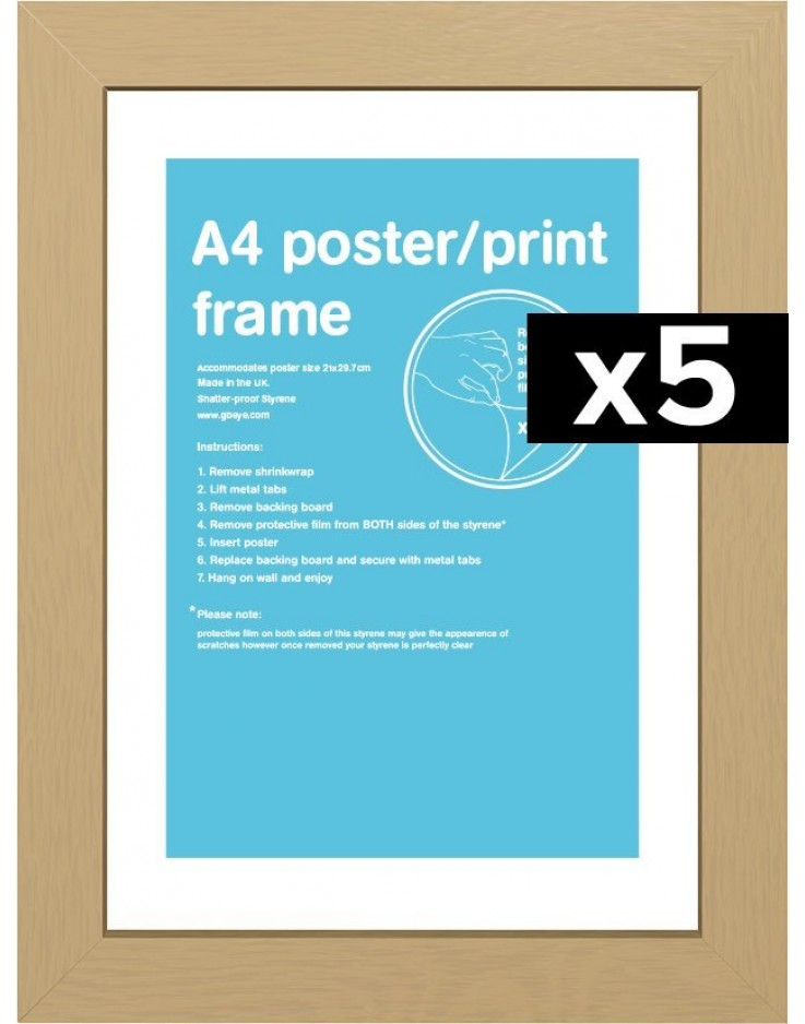 5 Cadres pour posters taille A4 (Chene)