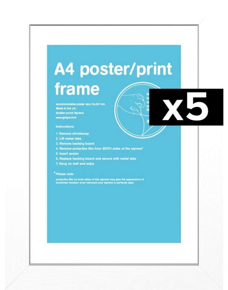 5 Cadres pour posters taille A4 (Blanc)