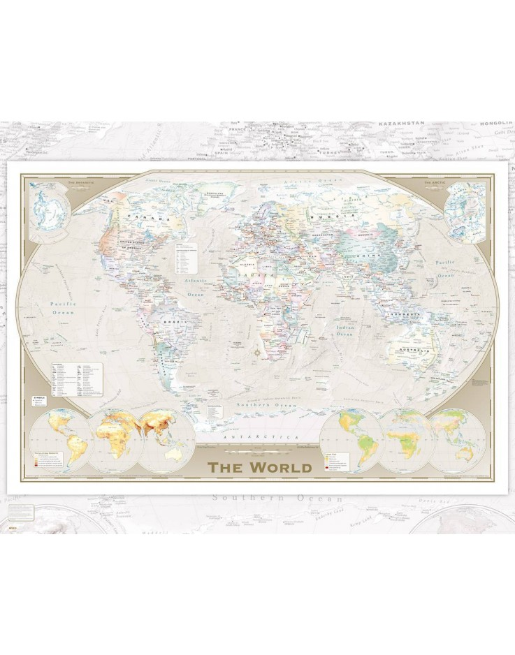Affiche mini World Map Tripel Projection 40 x 50 cm