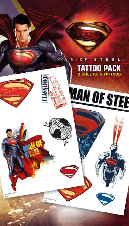 Superman Man of Steel Cartoon Tattoo Pack